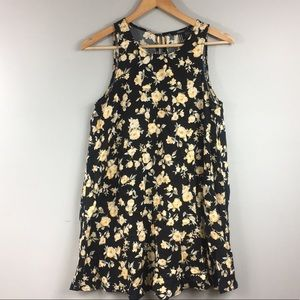 Forever 21 Black Yellow Floral Swing Dress